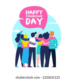 Happy friendship day greeting card with diverse friend group of people hugging together for special event celebration.