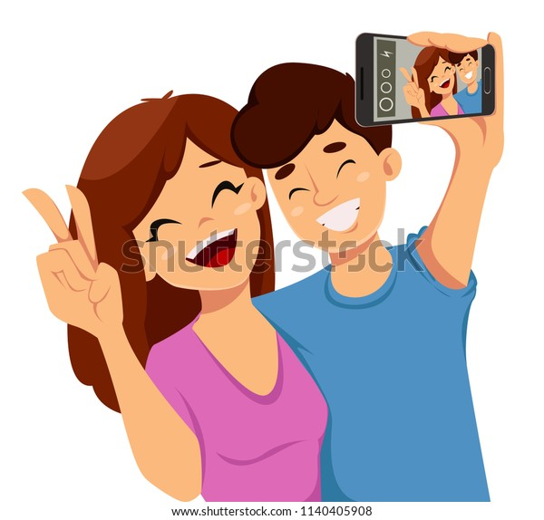 Happy Friendship day greeting card, poster or banner. Two friends taking a selfie with a smartphone. Raster illustration on white background