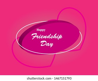 Happy friendship day text design on  eliptical shape. Friendship day celebration card with heart shape, eliptical shape, typography