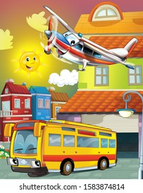 happy and funny cartoon bus looking and smiling driving through the city and plane flying - illustration for children