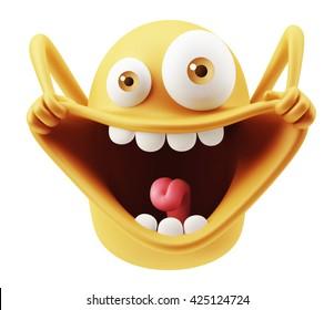 Joyeuse Drôle Emoticon Emoticon L'Expression Du Visage De Caractère. Rendu 3d.