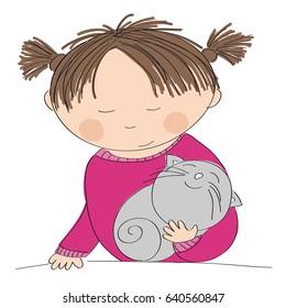 Happy girl holding her little grey kitten - original hand drawn illustration