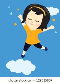 Happy girl on cloud nine - Jpeg