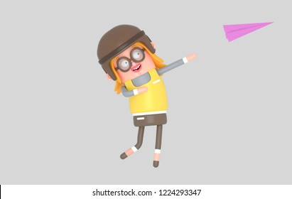 Happy Girl throwing paper plane. 3d illustration