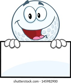 Happy Golf Ball Cartoon Character Over Sign. Vector version also available in gallery