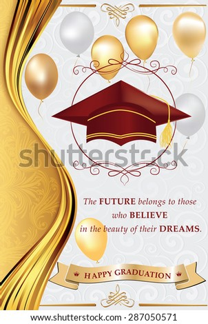 Happy graduation greeting card print congratulation stock happy graduation greeting card for print congratulation for your graduation elegant printable greeting card m4hsunfo