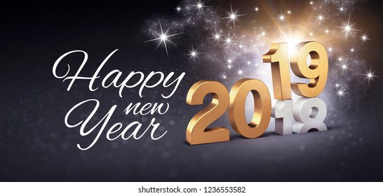Happy Greetings and New Year date number 2019 colored in gold, above ending year 2018, glittering on a festive black background - 3D illustration