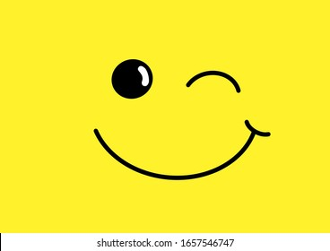 happy grin beam smiling smile with dimple and winking eye icon logo template design on yellow background