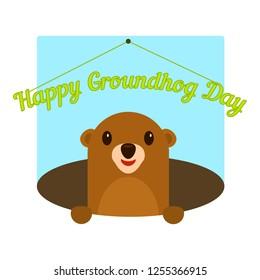 Happy groundhog day icon. Flat illustration of happy groundhog day icon for web design