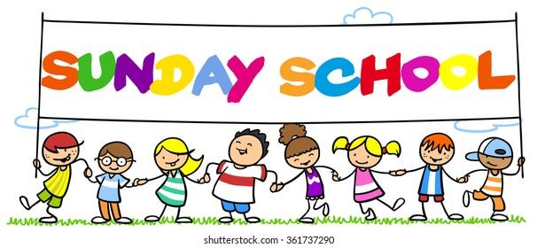 Happy group of cartoon kids in sunday school in nature