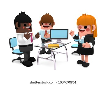 Happy group of coworkers as cartoon characters in 3D, standing next to an office desk, talking and discussing business, on an isolated white background.