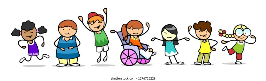 Happy group of kids with girls in wheelchair as integration concept