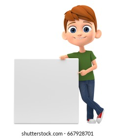 Happy guy pointing his finger at an empty board on a white background. 3d render illustration.