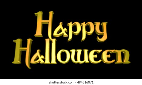 Happy Halloween 3D Illustration Text with Black Background