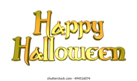 Happy Halloween 3D Illustration Text with White Background