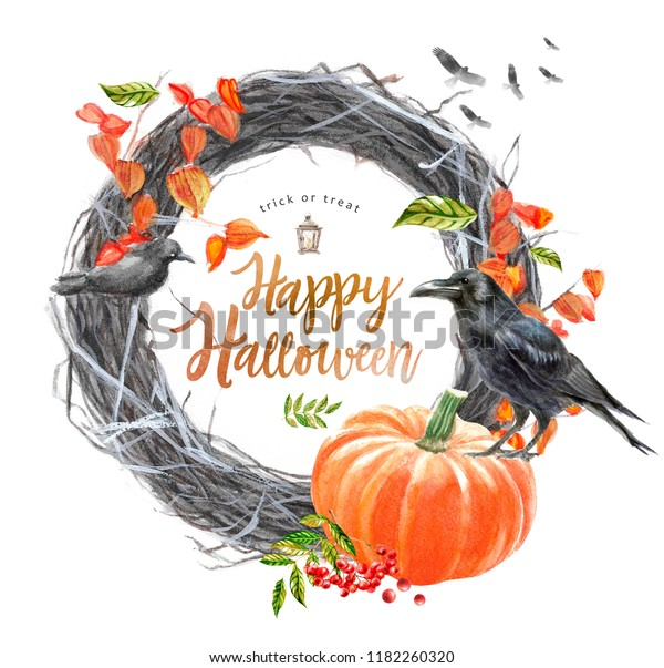 """Happy Halloween, autumn watercolor frame or card for the holiday """"halloween"""" with a pumpkin, a wreath  illustrations of objects for posters"""