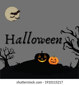 Happy Halloween background with black pumpkin and tree with moon illustration on gray background