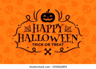 happy halloween background with pumpkin and skull and spider