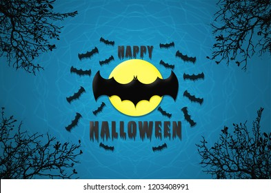 happy halloween background text and spooky group of bats flying in the dark night in the sky front of full moon light celebration at october night Trick or Treat.
