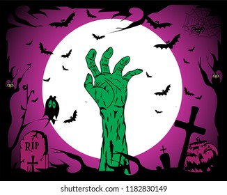 Happy Halloween background with Zombie hand, bats and grave