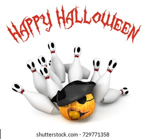 Happy Halloween bowling ball and pin with pirate pumpkin 3d illustrations on white background .