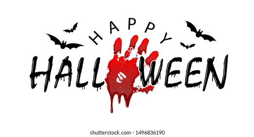 Happy Halloween card. Black scary design isolated on white background. Horror silhouette for banner, holiday card. Cartoon sinister dripping flow blood, hand, swarm flying bats illustration