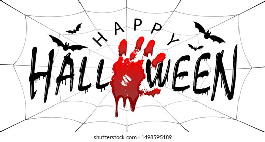 Happy Halloween card. Black scary design isolated white background. Horror silhouette for banner, holiday card. Cartoon sinister dripping flow blood, hand, swarm flying bats, web illustration