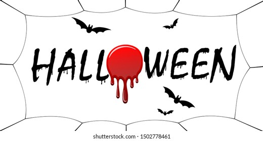Happy Halloween card. Black scary design isolated on white background. Horror silhouette for banner, holiday card. Cartoon sinister dripping flow blood, swarm flying bats, web illustration