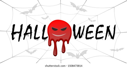 Happy Halloween card. Black scary design isolated on white background. Horror silhouette banner, holiday card. Cartoon dripping flow blood, swarm flying bats, sinister face, web illustration