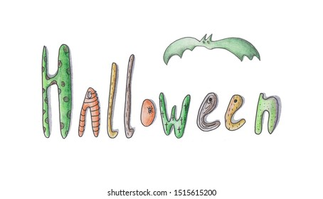 Happy halloween design element on white background for your design