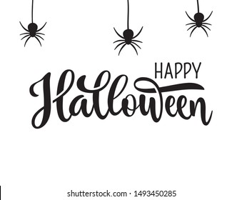 Happy Halloween greeting. Hand drawn lettering typography on white background