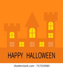Happy Halloween. Haunted house shadow Dark castle tower silhouette. Switch on yellow light at the windows, triangle roof. Greeting card. Flat design. Orange background. Isolated.