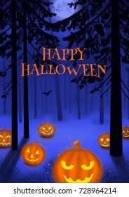 Happy Halloween illustration poster or card