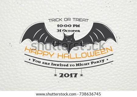 happy halloween invitation party halloween typographic stock