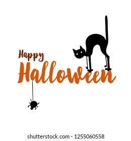 Happy halloween party title logo template. Spider and web, cat