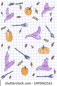 Happy Halloween pattern doodle. Grid white background. Fall leaves, candy, pumpkins, witch hat and broom illustration.
