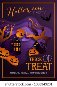 Happy halloween poster, background with pumpkin on grass, element for design