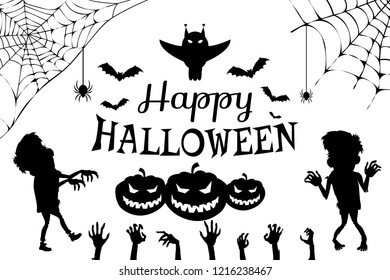 Happy halloween poster with title and owl above, images of zombies, hands and spiders hanging on cobweb, flying bats on raster illustration