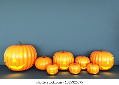 Happy Halloween pumpkin Blue Background. 3D illustration for halloween,3D rendering