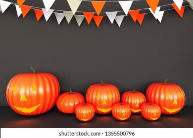 Happy Halloween pumpkin Brown Background. 3D illustration for halloween,3D rendering