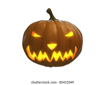 happy halloween pumpkin isolated on white