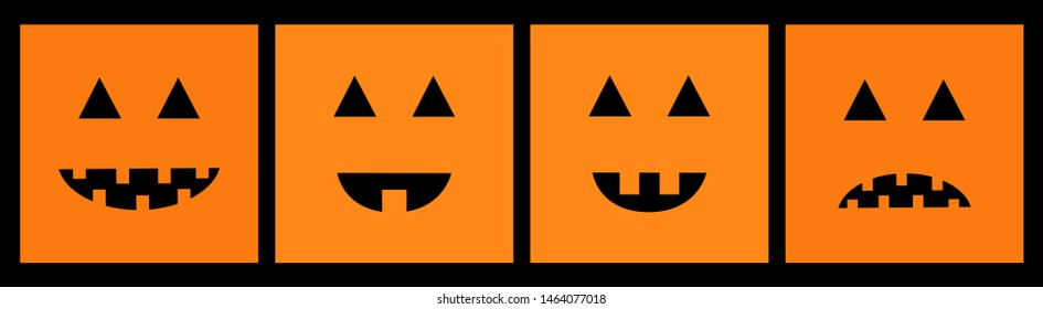 Happy Halloween pumpkin set line. Funny creepy smiling face. Cute cartoon baby character. Greeting card. Black background. Isolated. Flat design.