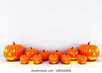 Happy Halloween pumpkin White Background. 3D illustration for halloween,3D rendering