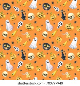 Happy Halloween seamless pattern background. Funny pumpkin, ghost, black cat, monsters. Watercolor illustration