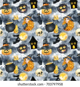 Happy Halloween seamless pattern background. Young beautiful witch. Funny pumpkin, ghost, black cat, monsters. Watercolor illustration