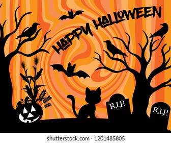 Happy Halloween silhouette with a pumpkin, bats, ravens, a black cat and tombstones.