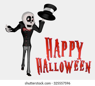 Happy Halloween Skeleton with Black suit