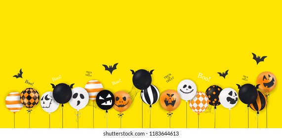Happy Halloween. Trick or treat. Boo. Scary air balloons. Holiday concept with halloween glitter confetti ghost balloons funny faces for banner, website, poster, greeting card, party invitation