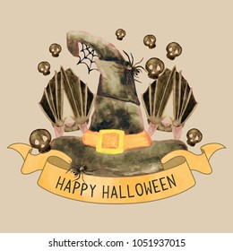 Happy Halloween Witch Hat, Bats, and Skull illustration fro greeting cards, poster, art print.