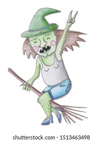 Happy haloween design element for your design. Witch